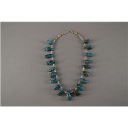 Turquoise and shell choker necklace