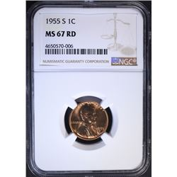 1955-S LINCOLN CENT NGC MS67RD