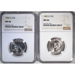 2-1982-D WASHINGTON QUARTERS, NGC MS-66