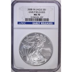 2008-W AMERICAN SILVER EAGLE, NGC MS-70