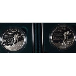 (2) 1991 Korean War Proof Silver Dollars