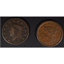 1829-VG & 1848 VF LARGE CENTS