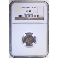1911 G. BRITAIN 3 PENCE, NGC MS-65