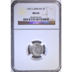 1922 G. BRITAIN 3 PENCE, NGC MS-65