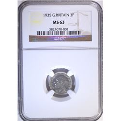 1935 G. BRITAIN 3 PENCE, NGC MS-63