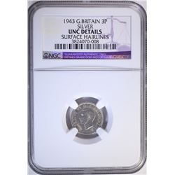 1943 G. BRITAIN 3 PENCE SILVER, NGC UNC details
