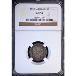 1818 GREAT BRITAIN 6 PENCE, NGC AU-58
