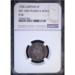1728 G. BRITAIN 6 PENCE PLUMES & ROSES, NGC F-12