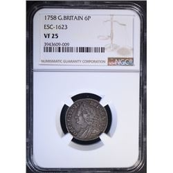 1758 GREAT BRITAIN 6 PENCE, NGC VF-25