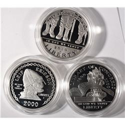 3 - PROOF SILVER COMMEM DOLLARS;