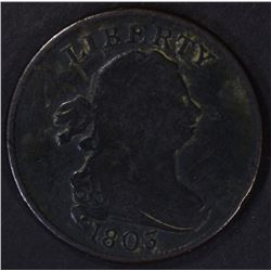 1803 HALF CENT, FINE mark obv