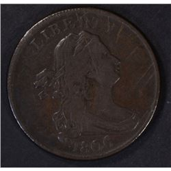 1806 HALF CENT: SMALL 6 STEMLESS, VF NICE