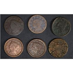 CIRC LARGE CENTS: 1818, 12, 50, 52, 56 & 1-NO DATE
