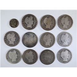 11- BARBER HALVES & 1901 DIME VF
