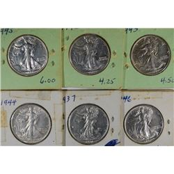 6-AU/UNC WALKING LIBERTY HALF DOLLARS