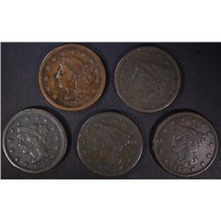 5 LARGE CENTS: 1838 G, 1839 VG,