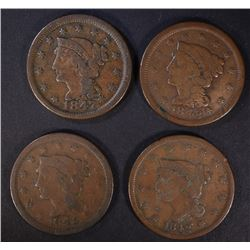 4 LARGE CENTS: 1842 F-VF, 1848 VG+,