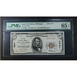 1929 TY1 $5.00 NATIONAL CURRENCY PMG 65EPQ