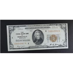 1929 $20 NATIONAL CURRENCY  CH.CU