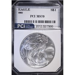 2002 AMERICAN SILVER EAGLE PCI PERFECT GEM BU