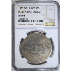 1933 CO HK-825 SC $1 SILVER PEDLEY-RYAN DOLLAR