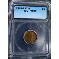 1909-S VDB LINCOLN CENT ICG VF25