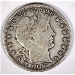 1907-D BARBER HALF DOLLAR VF+