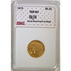 1915 $5.00 GOLD INDIAN RNG CH BU