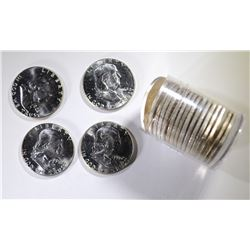 BU ROLL OF 1962 FRANKLIN HALF DOLLARS