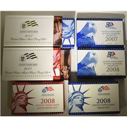 2007 & 2008 SILVER PROOF SETS, PROOF