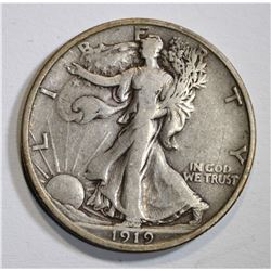 1919-D WALKING LIBERTY HALF DOLLAR  VF-XF