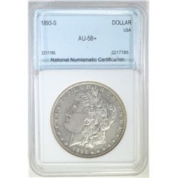 1893-S MORGAN DOLLAR NNC GRADED AU/UNC
