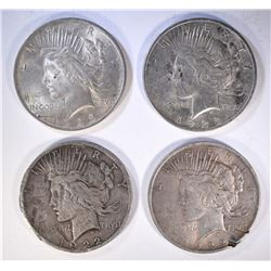 4 PEACE SILVER DOLLARS: