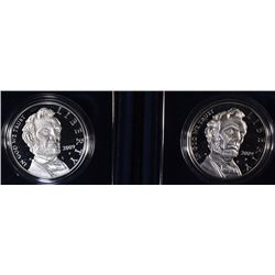 (2) 2009 Abraham Lincoln Proof Silver Dollars