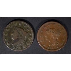 1829 VG+ & 1840 F/VF U.S. LARGE CENTS