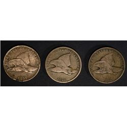 1857 FINE DARK & 2 1858 G & VG FLYING EAGLE CENTS