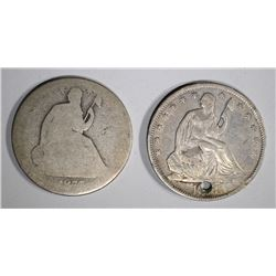 1858-O HOLED XF & 1877-S AG SEATED HALF DOLLARS
