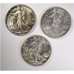 3-1941 WALKING LIBERTY HALF DOLLARS, CH BU
