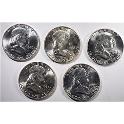 GEM BU FRANKLIN HALF DOLLAR LOT: