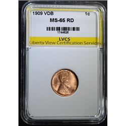 1909 VDB LINCOLN CENT LVCS GEM BU RD