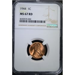1944 LINCOLN CENT NGC MS67 RD