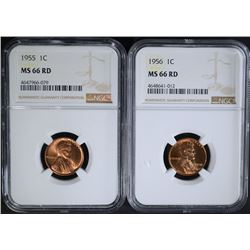 1955 & 1956 LINCOLN CENTS NGC MS66RD