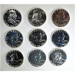 9 - Diff. PROOF FRANKLIN HALF DOLLARS
