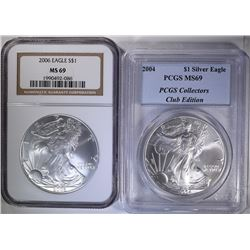 MS-69 ASE, 2004 PCGS & 2006 NGC