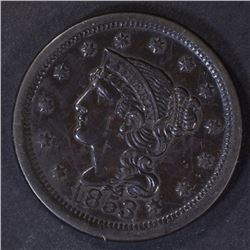 1853 LARGE CENT, XF/AU a few marks