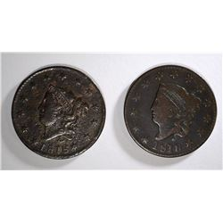 2 - 1818 LIBERTY HEAD LARGE CENTS