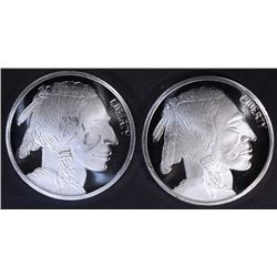 2-ONE OUNCE .999 SILVER INDIAN/BUFFALO ROUNDS