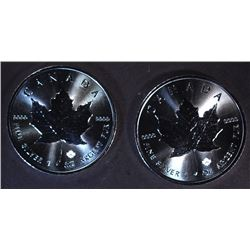 2-BU 2016 CANADA 1oz .9999 SILVER MAPLE LEAF COINS