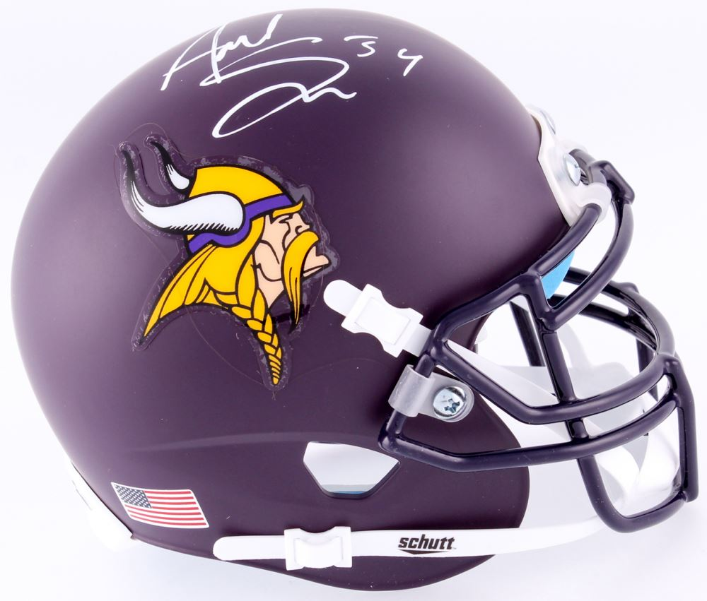 Image 1 Andrew Sendejo Signed Vikings Custom Matte Purple Mini Helmet TSE COA