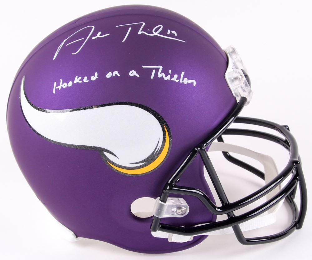Image 1 Adam Thielen Signed Vikings Custom Matte Purple Full Size Helmet Inscribed